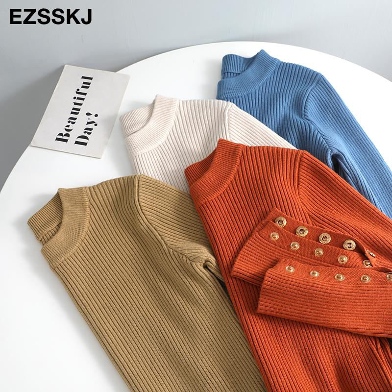 Casual Basic Herbst Winter Frauen Dicke Pullover Pullover Button Sleeve Oansatz Chic Pullover Weibliche Slim Knit Soft Jumper Pullover C1120