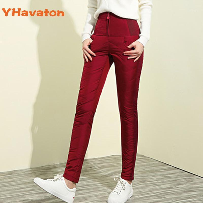 Yhavaton 2020 Donne Down Pants High Vita Pantaloni Inverno Zipper Tenere Addensare caldo Slim Skinny Down Donne Casual1