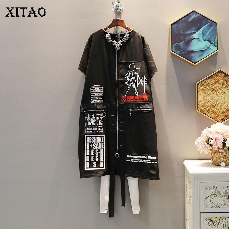 Xitao Tide Print Picket Plus Размер платья Секвины Элегантные Женщины Нерегулярные Карманные Корейский Модный Пуловер Сопульт Все Летние DLL3176 J1215
