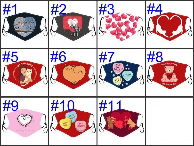 2021 Día de San Valentín Mascarilla Cara Lavable Reutilizable Cubierta de boca de algodón adulto Heart Dust Mask Pareja protectora ajustable Correa Party Masks