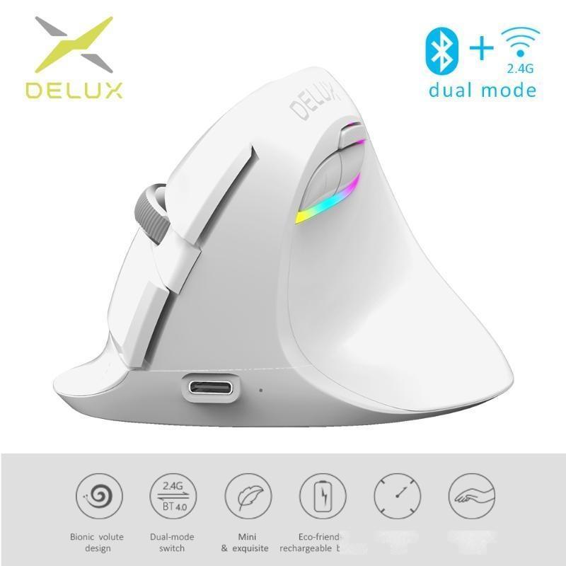 Delux M618 Mini Kablosuz Beyaz Fare Bluetooth 4.0 2.4 GHz Çift Modu Ergonomik Şarj Edilebilir Sessiz Click Dikey fareler PC için