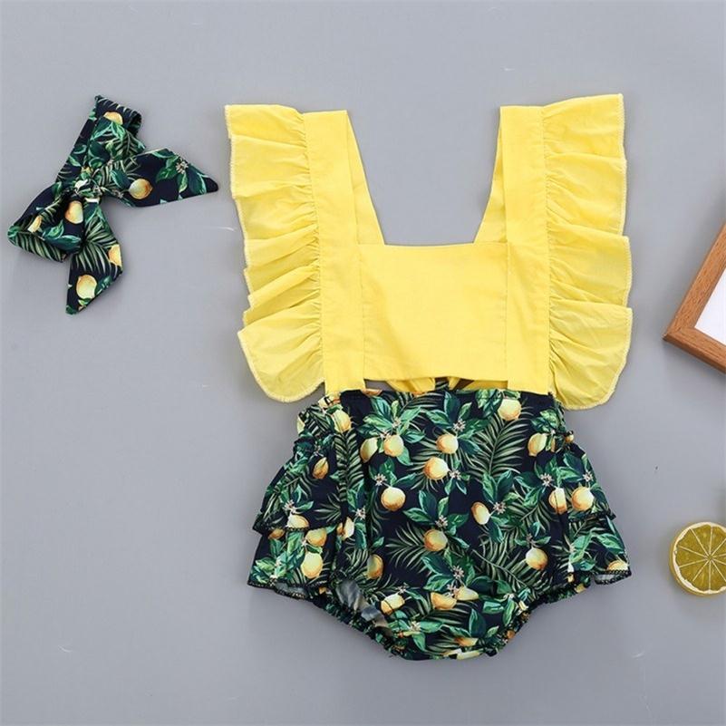 Ropa de verano bebé infantil recién nacido bebé niñas hojas frutas bodysuits vestido impresión mansiones sin mangas sunsuit headband12 201216