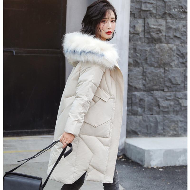 Женщины женские пальто Прибытие Parka Plus Размер Slim Tool Wars Женский Большой Мех Среднего длинного утолщения Большой Студенческий Студенческий Студенческий Пальто 98061