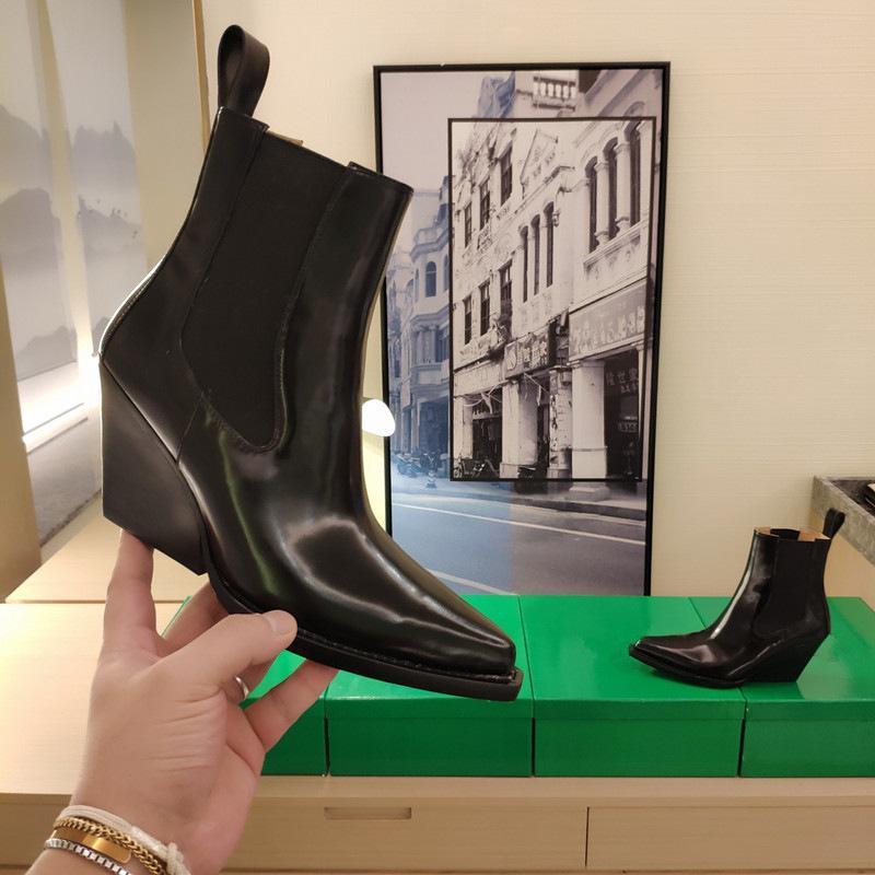 Venta caliente mujer cuña tacón tacón botines de cuero de vaca tacón alto tacón botines diseño de lujo botas cortas zapatos de plataforma