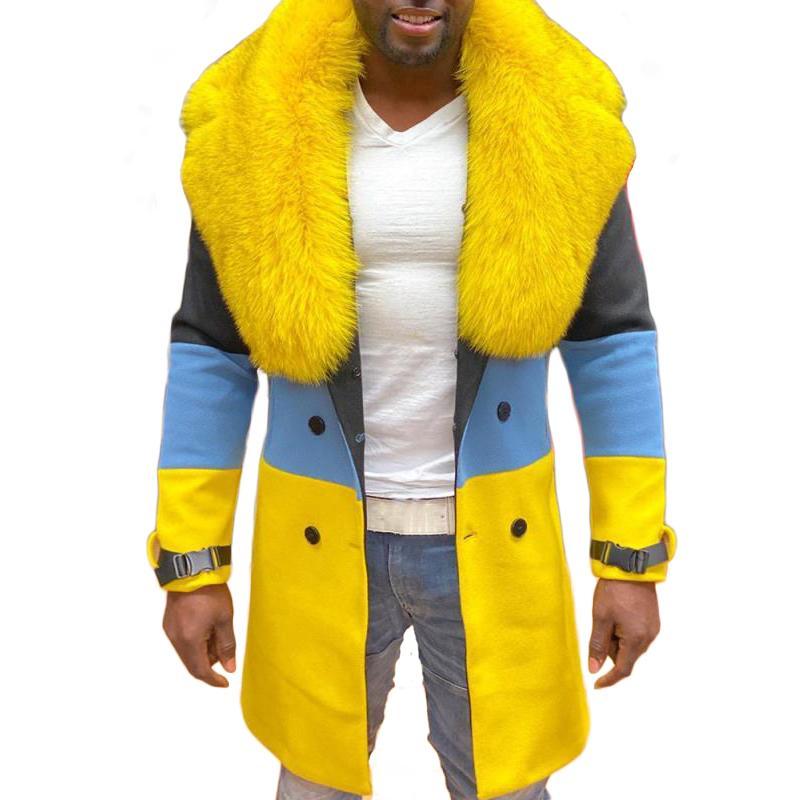 Fashion- European y American Men's Color Trench Coat Funda larga Hombre Doble Breasted Woolen Coat Ropa de hombre