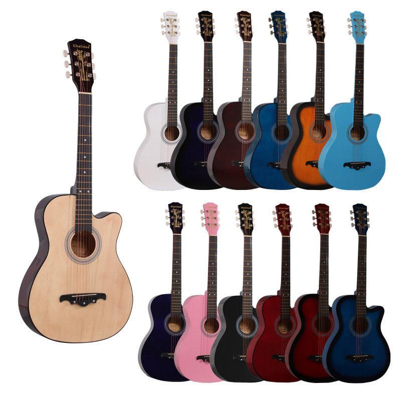 Akustikgitarre Basswood 38 Zoll Für Studentenanfänger mit Gig Bag Tuner Strap Picks