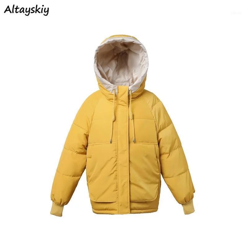 Parkas de estilo corto Mujeres Ulzzang Patchwork NUEVO algodón de invierno grueso suelto bolsillo femenino Parka con capucha grande tamaño básico mujer Outwear1
