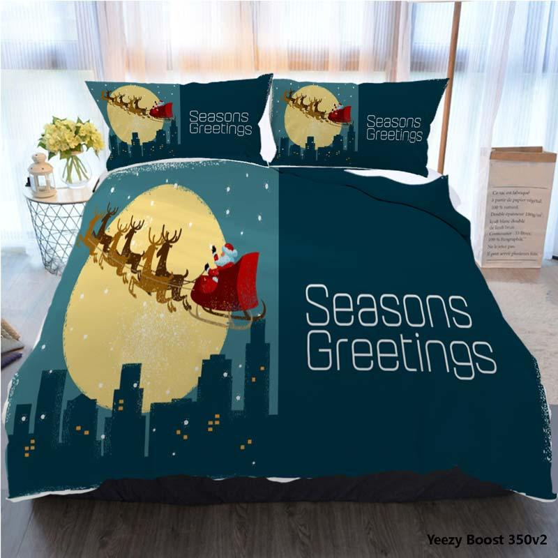 Bedding Set King Size Tortoise Duvet Cover 3D Twin Full Queen Santas Sleigh Over City Bed Cover With Pillowcase