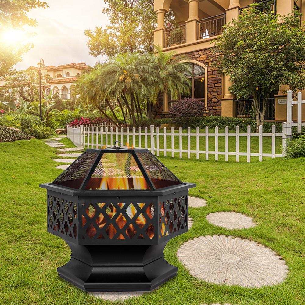 """24 """"Hex в форме на открытом воздухе Fire Fire Dood жжение камин дворик дворик на заднем дворике нагреватель стальной фирговый чаша тяжелая сталь"""