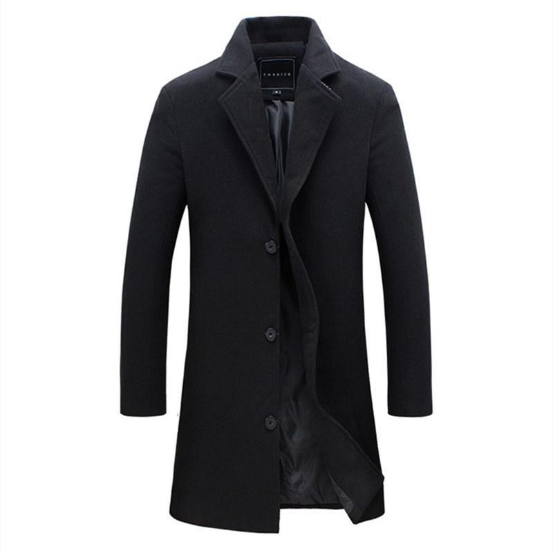 Mens Trench Coat 2020 New Fashion Lengthened Simple Luxury Wool Coat Winter Single Breasted Windproof Slim Trench Men 5XL