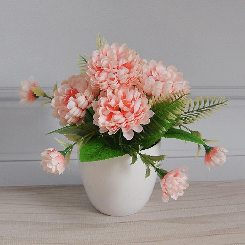 الأناناس أقحوان بونساي محاكاة زهرة مجموعة بالجملة الحرير القماش 5 أقحوان عرض سطح المكتب الزهور الزفاف الديكور
