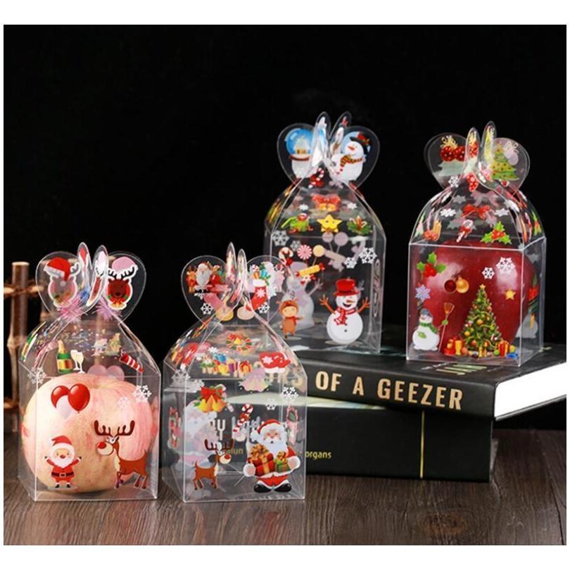 Muitos estilos PVC Caixa de Doces Transparente Caixa de Presente Decoração de Natal e Embalagem Santa Claus Snowman Elk Re Jllkxk Outbag2007