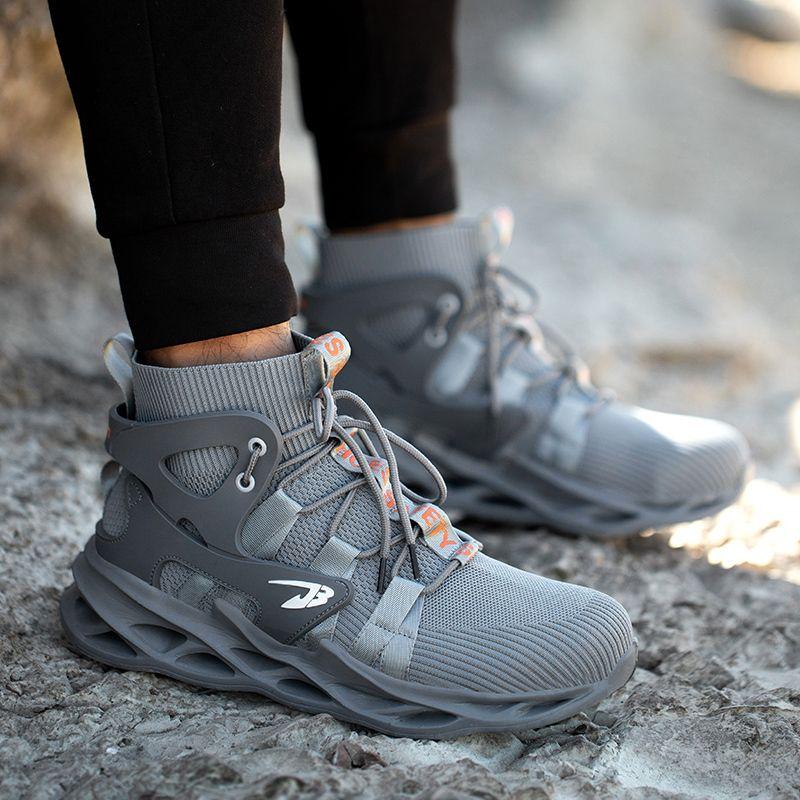 Agilestar Botas de trabajo antideslizantes Botas indestructibles Zapatos de seguridad de los hombres transpirables nuevos Zapatillas de seguridad para la punción a prueba de puntas de acero 201202