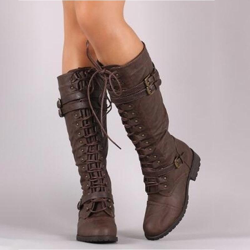 Women Knee high Boots Autumn Winter Lace Up Flat Shoes Sexy Steampunk PU Retro Buckle women shoes Ladies Snow Boots C0128