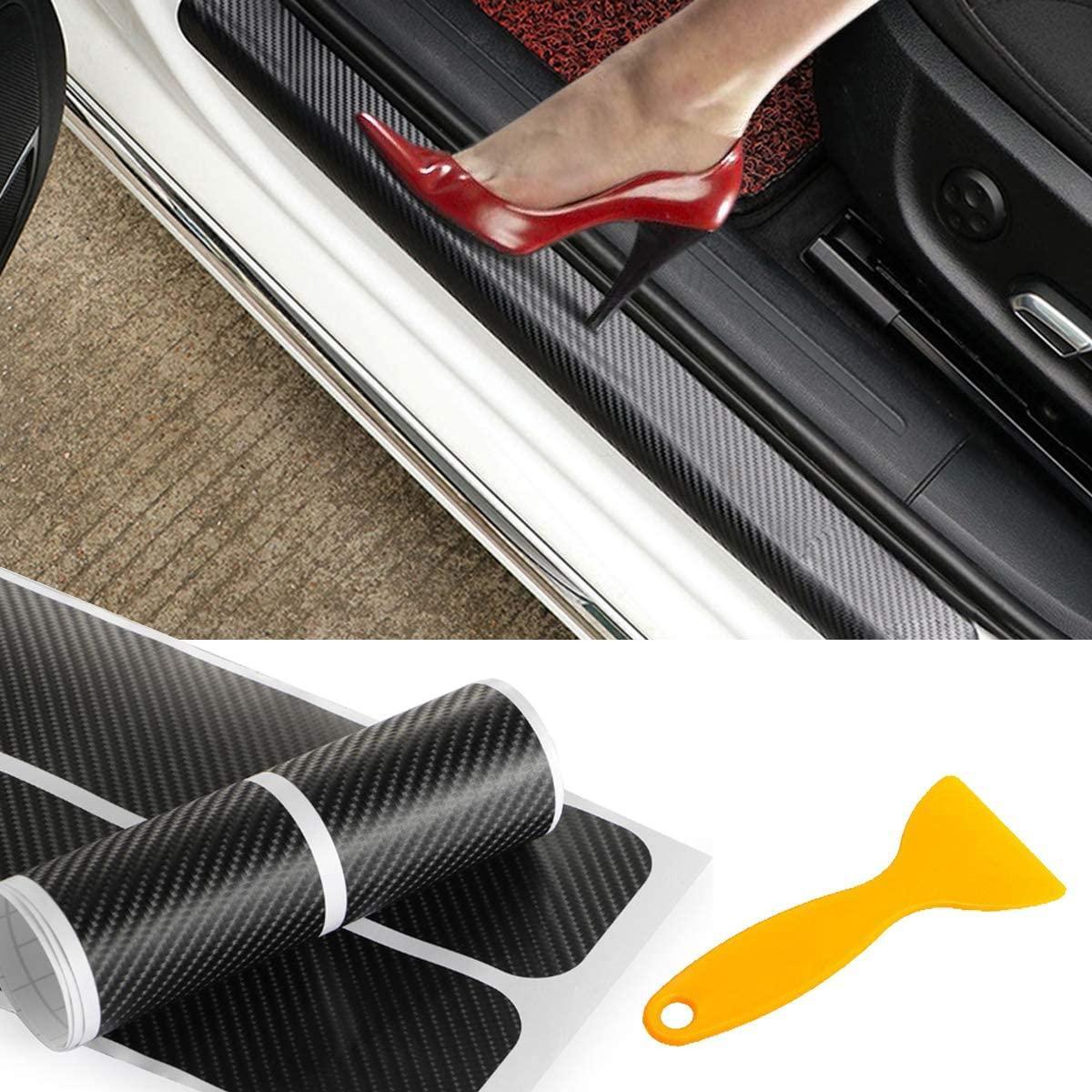 4 stücke Auto Türsteher Kohlefaser Aufkleber Tür Anti Kratzer Streifen Anti Kick Film Protec QC02