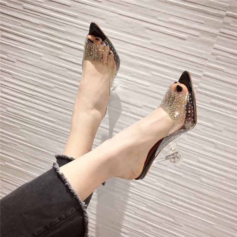 Платье обувь 2021 мода прозрачные стразы женские насосы Sexy Clear Perspex хрустальный свиток каблука тапочки неглубокие PEEP ножные сандалии1