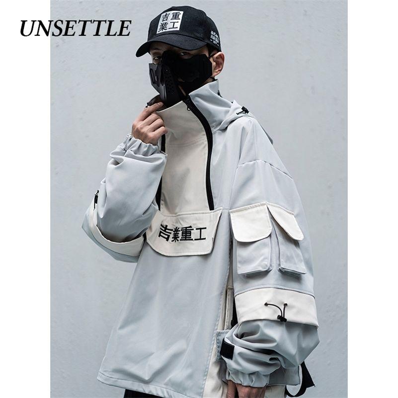 Automne / Hiver Hommes / Femmes Mulit Pockets Couleur Bloc Colorwork Streetwear Streetwear Harajuku Hip Hip Hop Casual Coton Vestes Manteaux 201223