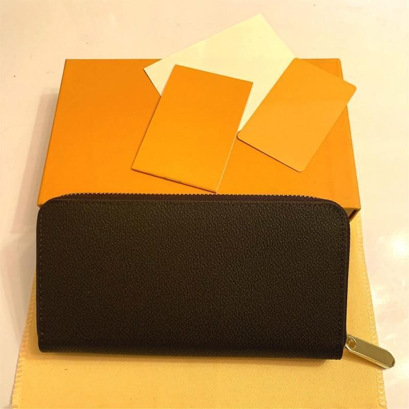 Moda mujer embrague billetera PU cuero billetera solo cremallera carteras señora ladies largo clásico bolso con caja de caja naranja 60017