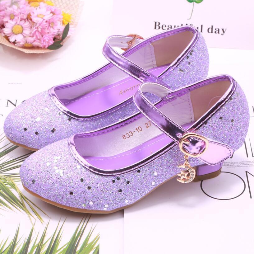 Niñas Sandalias Rhinestone Butterfly Latina Danza Latina Zapatos Niños Tacón alto Princess Zapatos Glitter Cuero Vestido de fiesta Boda Q1214
