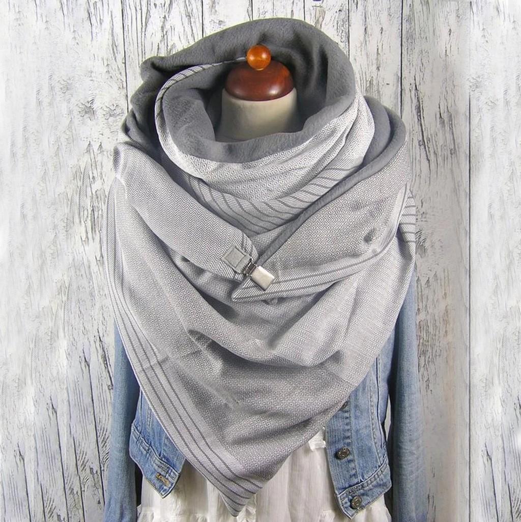 Moda inverno mulheres cachecol soild ponto impressão botão macio envoltório casual lenços quentes xalhe mulheres lenço