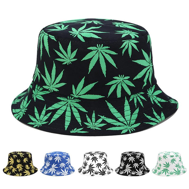 Ahornblätter gedruckt Eimer doppelseitige tragen Fischerkappe Unisex Hip-Hop Travel Outdoor Fashion Street Beste Verkauf von Hüten 6 Farben