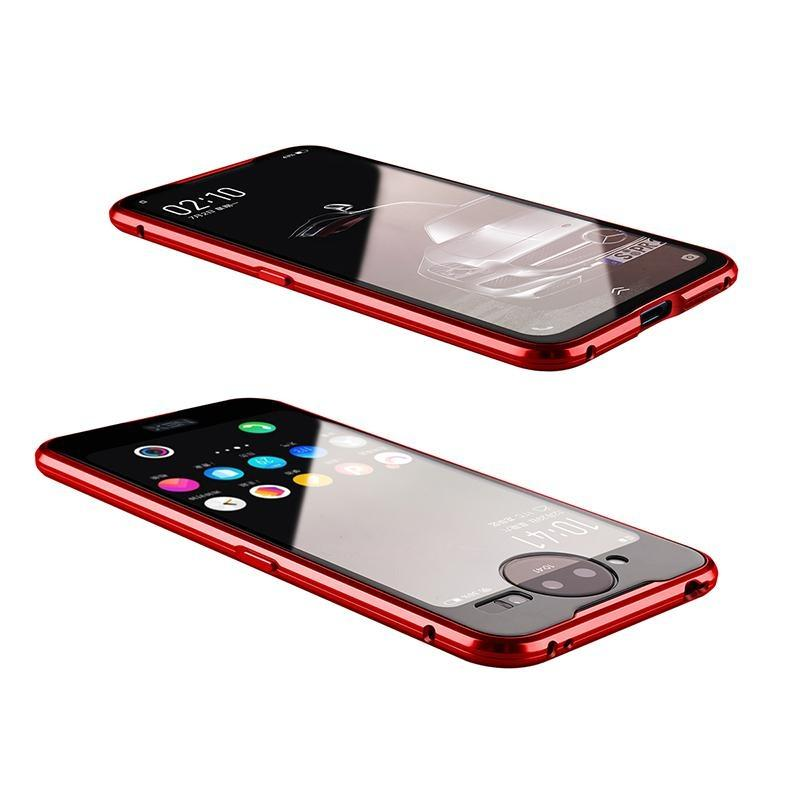 Cassa a flip magnetica a 360 ° Protezione integrale per vivo NEX 2 Coperchio del telefono in vetro a doppio lato e copertura del telefono in metallo con proteggi schermo incorporato