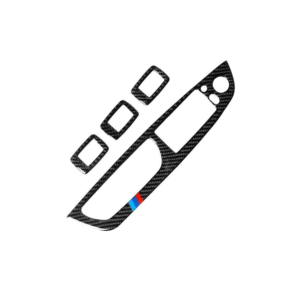 4 in 1 Auto Kohlenstofffaser Tricolor Fensterliftschalter Panel Dekorativer Aufkleber für BMW 2008-2013 x5 E70 2009-2014 x6 E71 Hohe Konfiguration