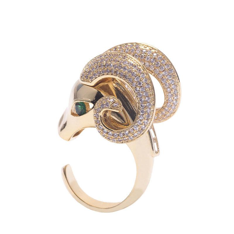 Luxury fashion classic animal sheep head copper zircon ring African hip hop street style jewelry R2581 Q1218