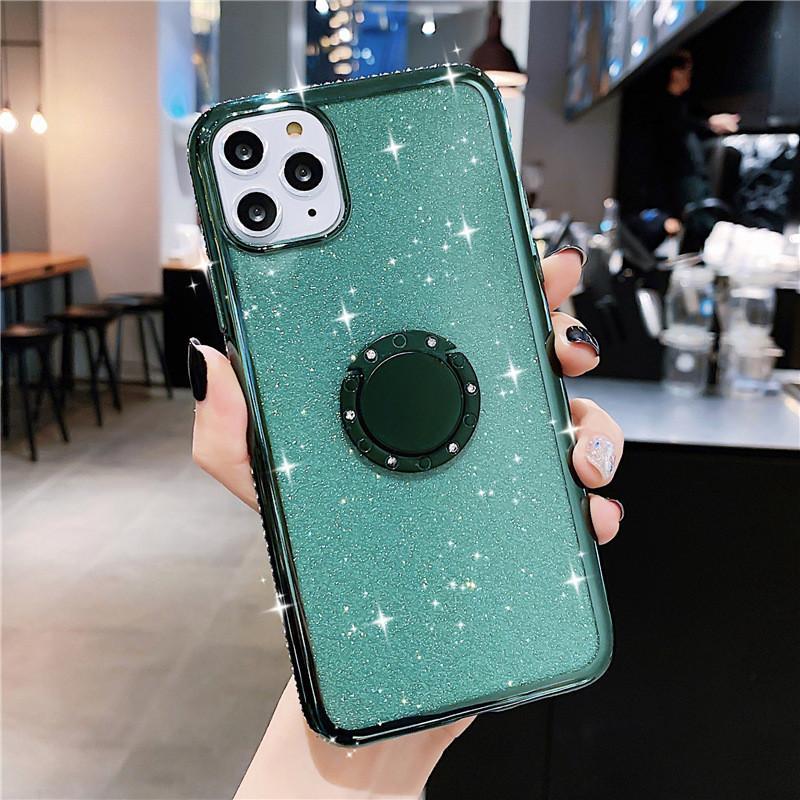 Diamond Phone Shell Case con staffa Diamond Luxury Glitter Custodie telefoniche per iPhone 12 Pro Max iPhone 11 Pro XR xs Max 7 8 6 Spedizione veloce