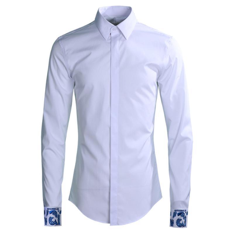 Camicie da festa Camicia Casual 2020 Polsino da ricamo Camicie moda Mens Long 4XL Slim fit uomo uomo uomo manica di lusso Plus Dexhn