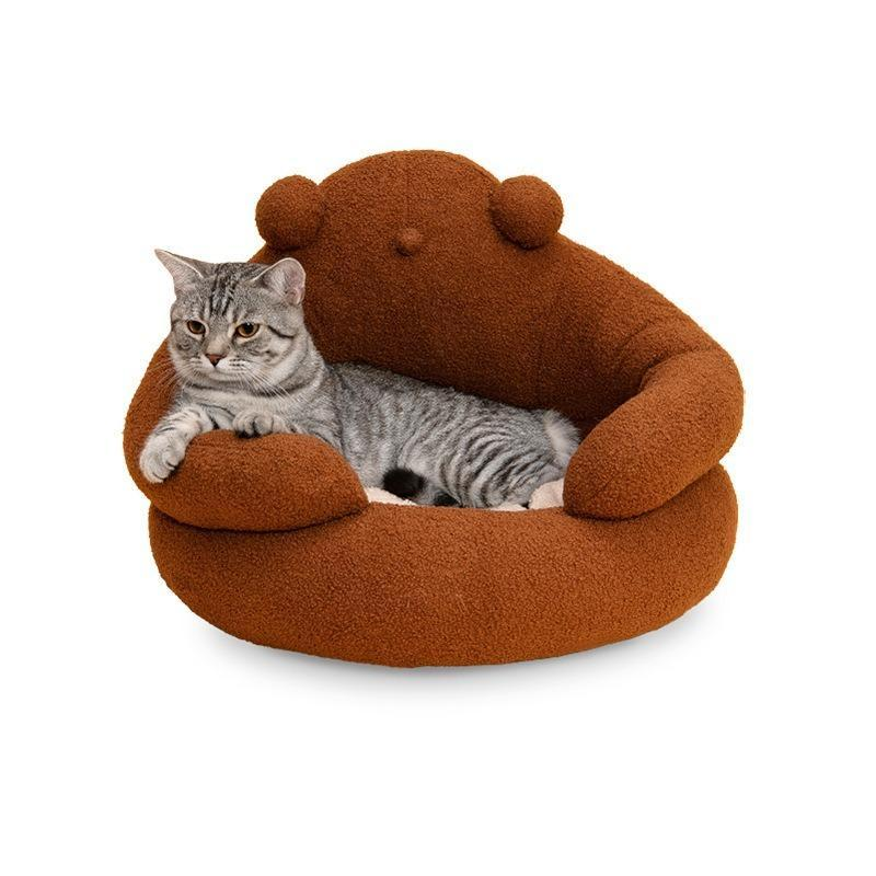 Кошка кровати мебель объятия медведь мусор мусор, домашнее животное съемное, тепло зимой, маленький питомник круглая тедди бархат мягкий и эластичный