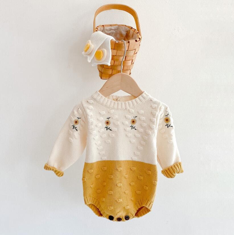 أزياء طفلة تسلق محبوك البلوز رومبير كم طويل زهرة التطريز تصميم رومبير 100٪ القطن فتاة الساحرة السروال القصير 0-2T