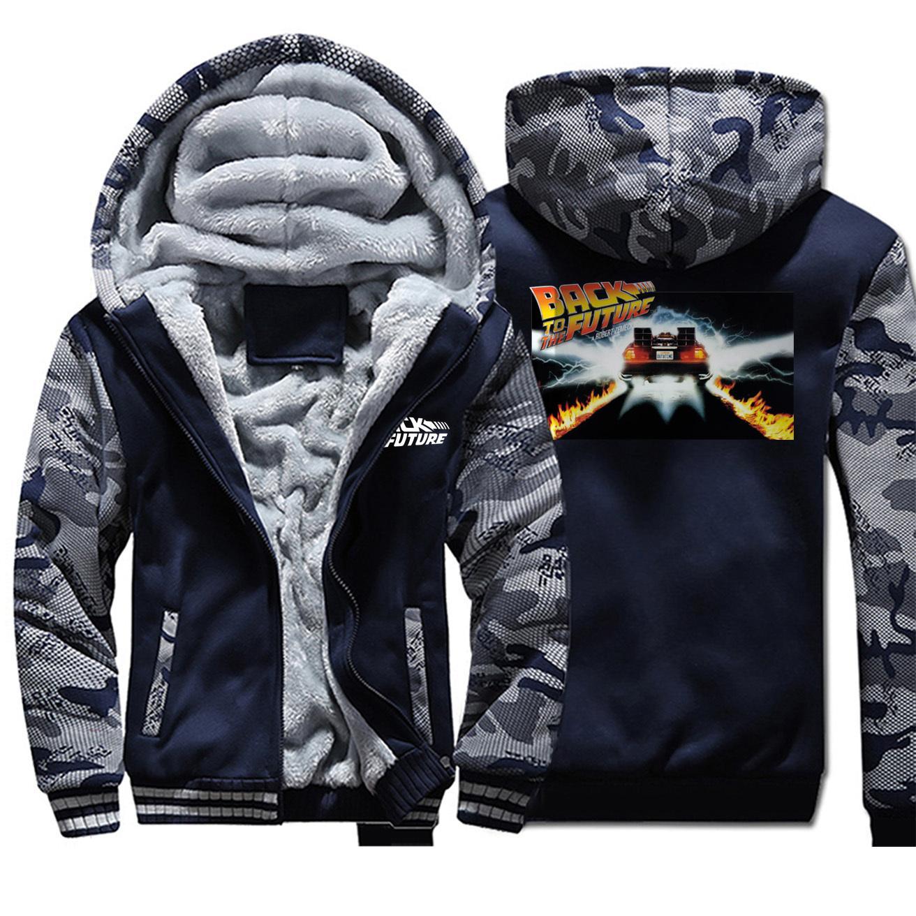 Мужские камуфляжные камуфляж плюс обратно в будущее мода с капюшоном бархатная толстая куртка Толстовка осень зима зима повседневная одежда молнии
