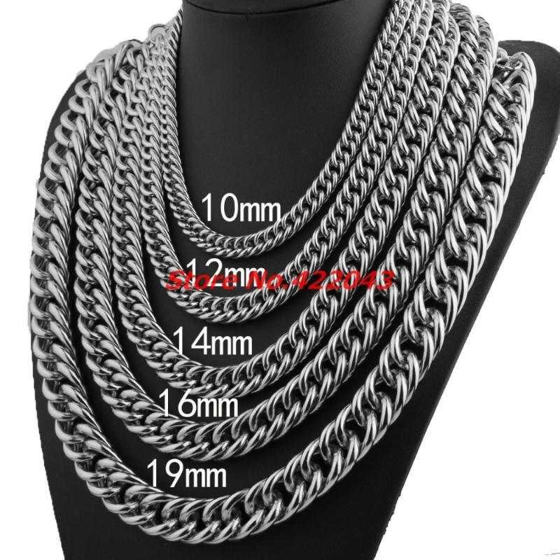 """7-40"""" Father's Best Gift 10/12/14/16/19mm Stainless Steel Silver Color Curb Cuban Chain Necklace Bracelet High Polished Jewelry"""
