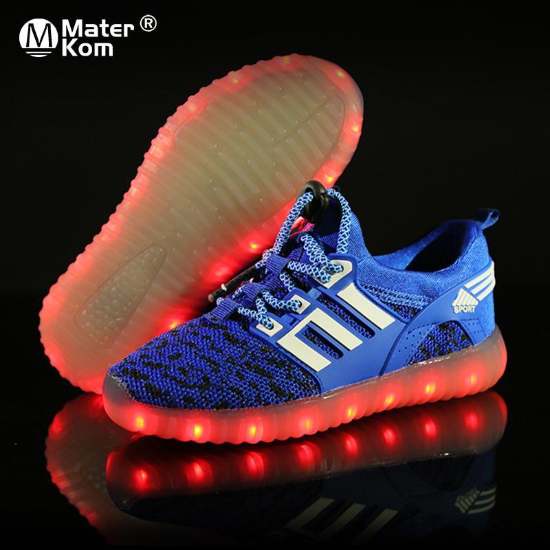 Größe 25-37 Mädchen LED USB Ladung Leuchtende Turnschuhe Kinder Laufschuhe mit Lichtern Jungen Atmungsaktiv glühende lässige Turnschuhe Y1118
