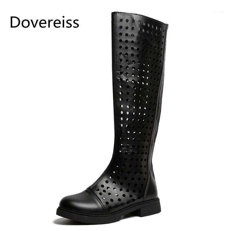 Dovereiss Fashion Women's Shoes Summer Sexy Blanco Amarillo Redondo Toe Consique Cremallera Rodilla High Boots Matin Boots 35-391