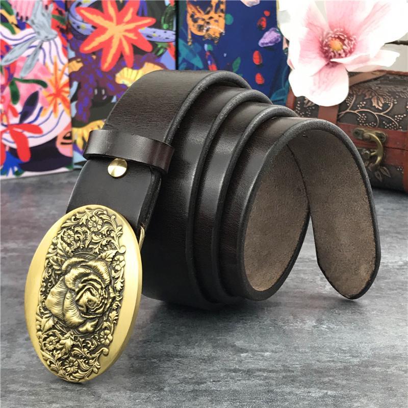 Cinturones de cuero de los hombres de calidad superior sin hebillas, correas, ox8t