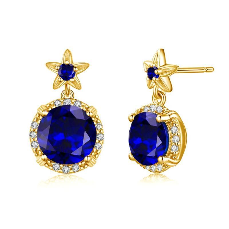 Stud szjiano echte 925 sterling silber ohrringe blau saphir handgemachte designer feine schmuck blume mode für frauen