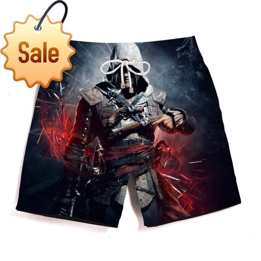 2020 Pantalones de playa Pantalones cortos ocasionales transpirables para hombres Assassin Creed Imprimir GMML