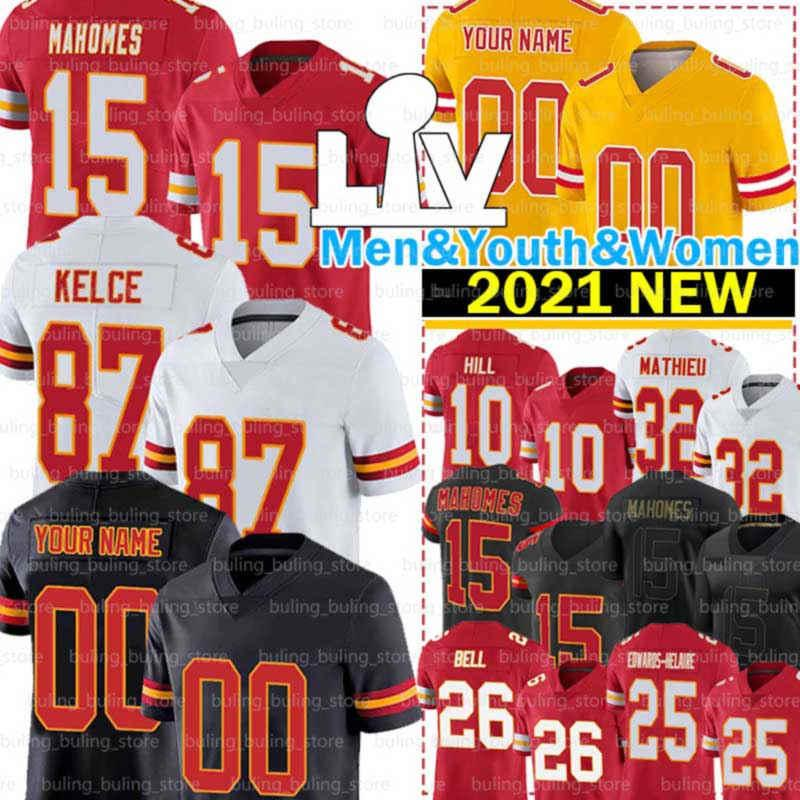 15 Patrick Mahomes Jersey 87 Travis Kelce Clyde Edwards-Helaire Tyreek Hill Tyrann Mathieu Le'veon Bell Chris Jones L'Jarius Sneed Football