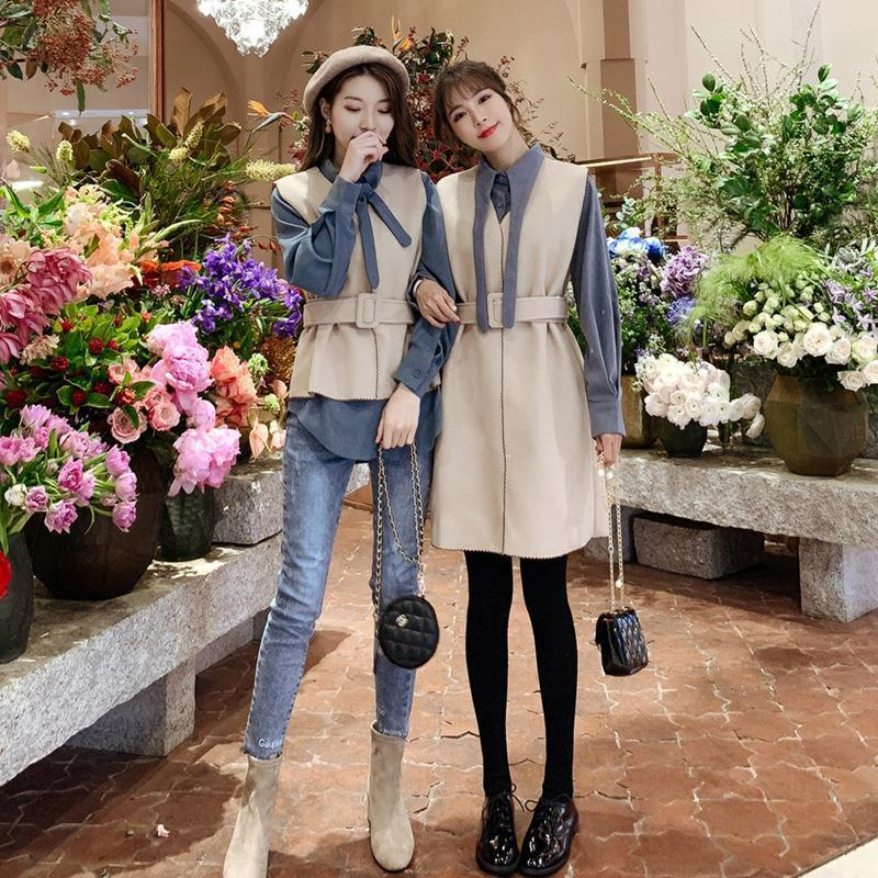 2021 Women Autumn Winter New Knitted Sweater 2 Piece Sets Lady Sashes Vest Bow Long Sleeve Shirt Suit Female Casual Slim Set I24
