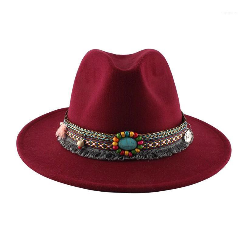 حافة واسعة القبعات 2021 أزياء الرجال فيدورا المرأة الجاز قبعة الصيف الربيع الأسود الصوف مزيج كاب في الهواء الطلق عارضة hat1