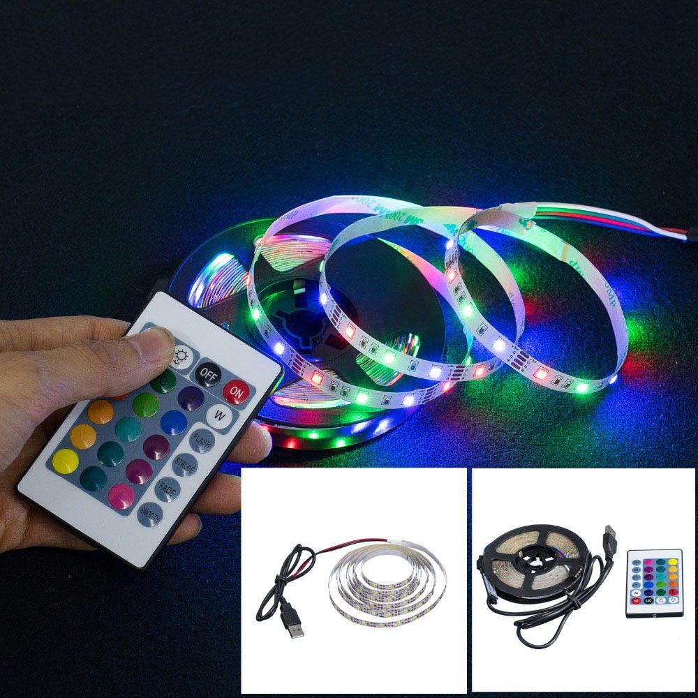 LED tira luz USB 5050smd dc12v flexível lâmpada lâmpada fita fita rgb 5m tv tv tela de luz luminoso fita diodo