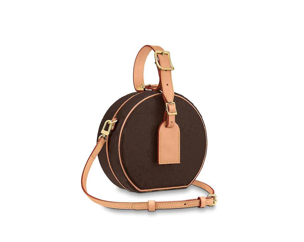 2020 m43514 صغيرتي boite chapeau boite mm pm handbag محفظة البقر الأصلي تقليم قماش hatbox مصمم حقائب الكتف crossbody messenger