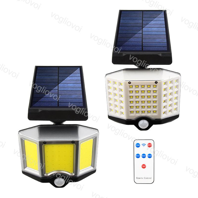 Solar Security Lights Motion Sensor 66LED COB With Controller 8Model Waterproof 6500k For Outdoor Garden Sunlight Wall Street DHL