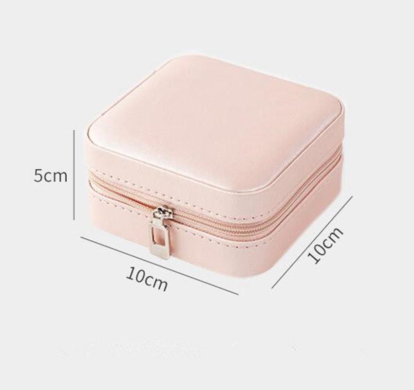 Caja de joyería de la PU MONEOLAYER Caja de joya de la oreja Partamentos con cremallera Caja de almacenamiento Adornos Cajas de anillos de joyería Contenedores de almacenamiento por mar Envío GGA3826