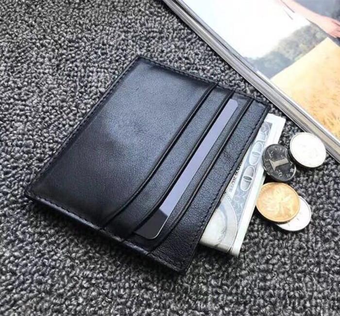 Кредитные мужские держатель карты мужские кожаные бизнес-кошельки ультратонкие карты реальный мини случайный тонкий автобусный кошелек ID с коробкой DTSEC
