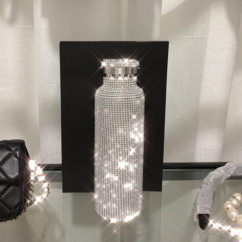 Köpüklü High-end Yalıtımlı Şişe Bling Rhinestone Paslanmaz Çelik Termal Şişe Elmas Termo Gümüş Su Şişesi Kapağı ile 201118