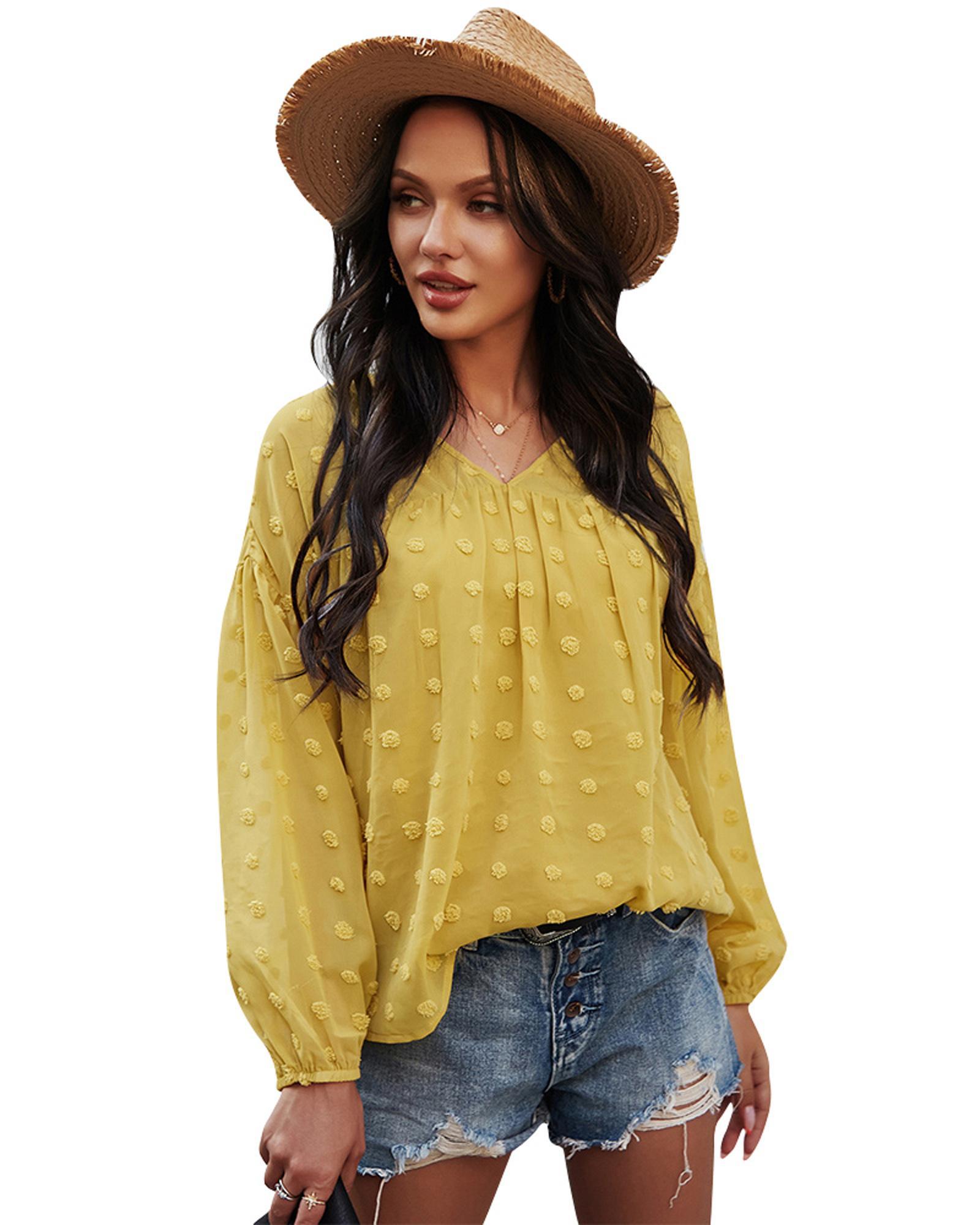 여름 새로운 여성 시폰 블라우스 우아한 랜턴 긴 소매 v 목 탑스 pom pom sunscreen shirts 캐주얼 튜닉