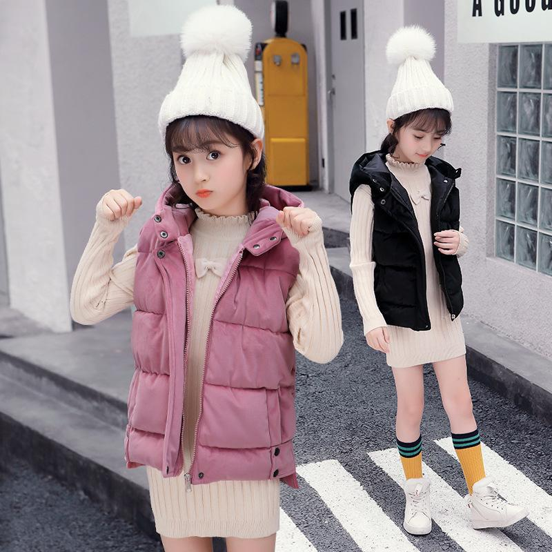 Moda niños chaleco algodón bebé invierno ropa cálida pleuche chaleco para chicas grandes espesando chaquetas sin mangas con capucha 4-16yrs 201110
